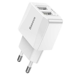 Baseus Mini Dual-U Charger(EU)2.1A White-Best Charger of Electrovibe